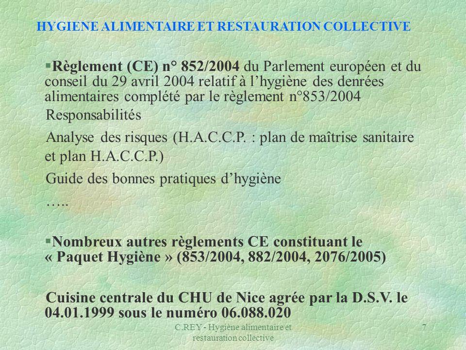 C.REY - Hygiène alimentaire et restauration collective 7 HYGIENE ALIMENTAIRE ET RESTAURATION COLLECTIVE §Règlement (CE) n° 852/2004 du Parlement europ