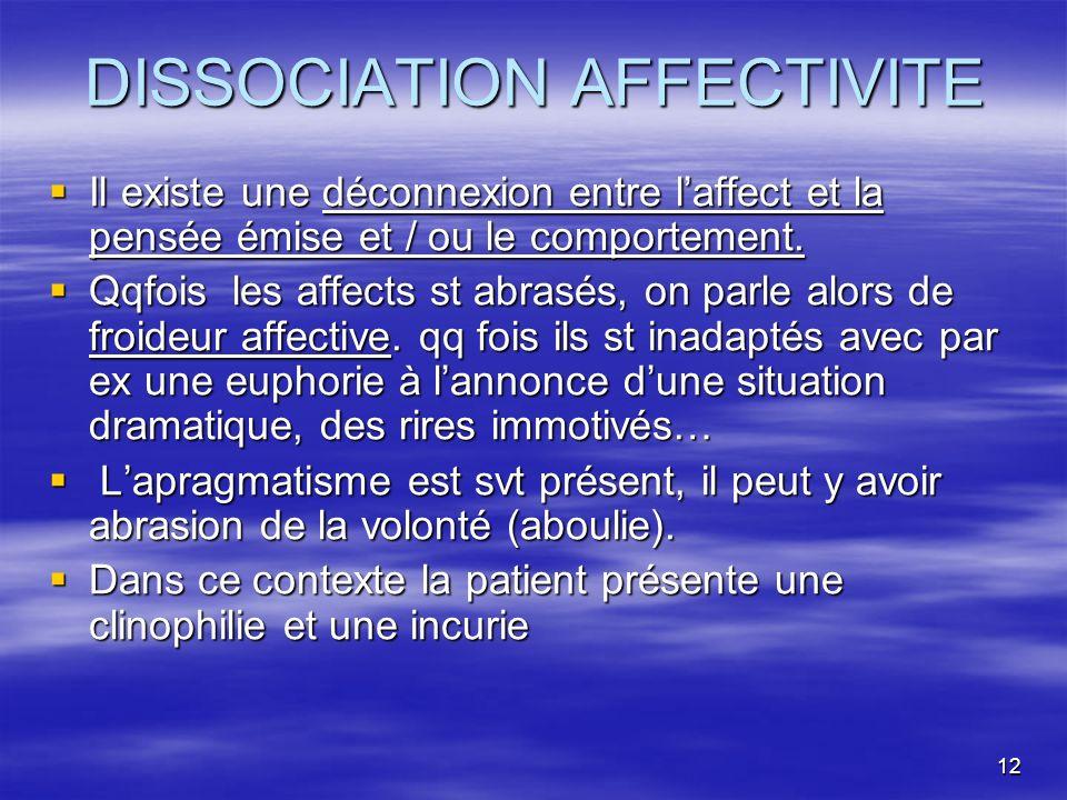 12 DISSOCIATION AFFECTIVITE Il existe une déconnexion entre laffect et la pensée émise et / ou le comportement. Il existe une déconnexion entre laffec
