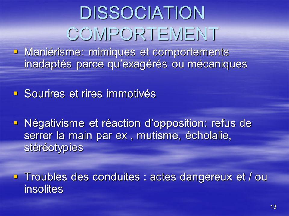 13 DISSOCIATION COMPORTEMENT Maniérisme: mimiques et comportements inadaptés parce quexagérés ou mécaniques Maniérisme: mimiques et comportements inad