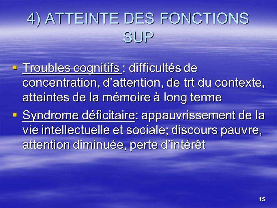 15 4) ATTEINTE DES FONCTIONS SUP Troubles cognitifs : difficultés de concentration, dattention, de trt du contexte, atteintes de la mémoire à long ter