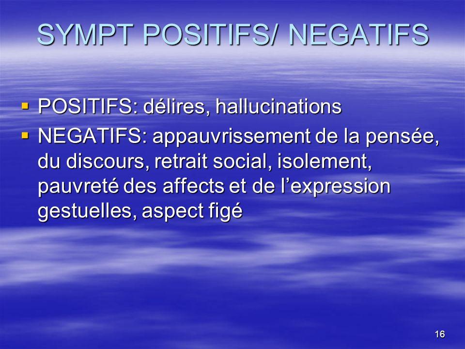16 SYMPT POSITIFS/ NEGATIFS POSITIFS: délires, hallucinations POSITIFS: délires, hallucinations NEGATIFS: appauvrissement de la pensée, du discours, r