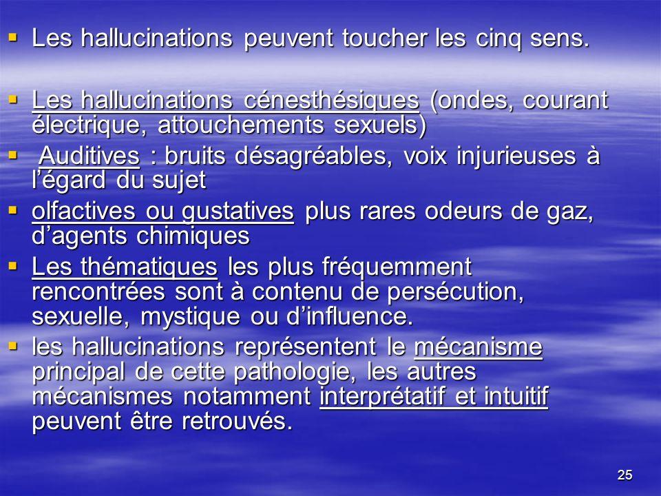 25 Les hallucinations peuvent toucher les cinq sens. Les hallucinations peuvent toucher les cinq sens. Les hallucinations cénesthésiques (ondes, coura