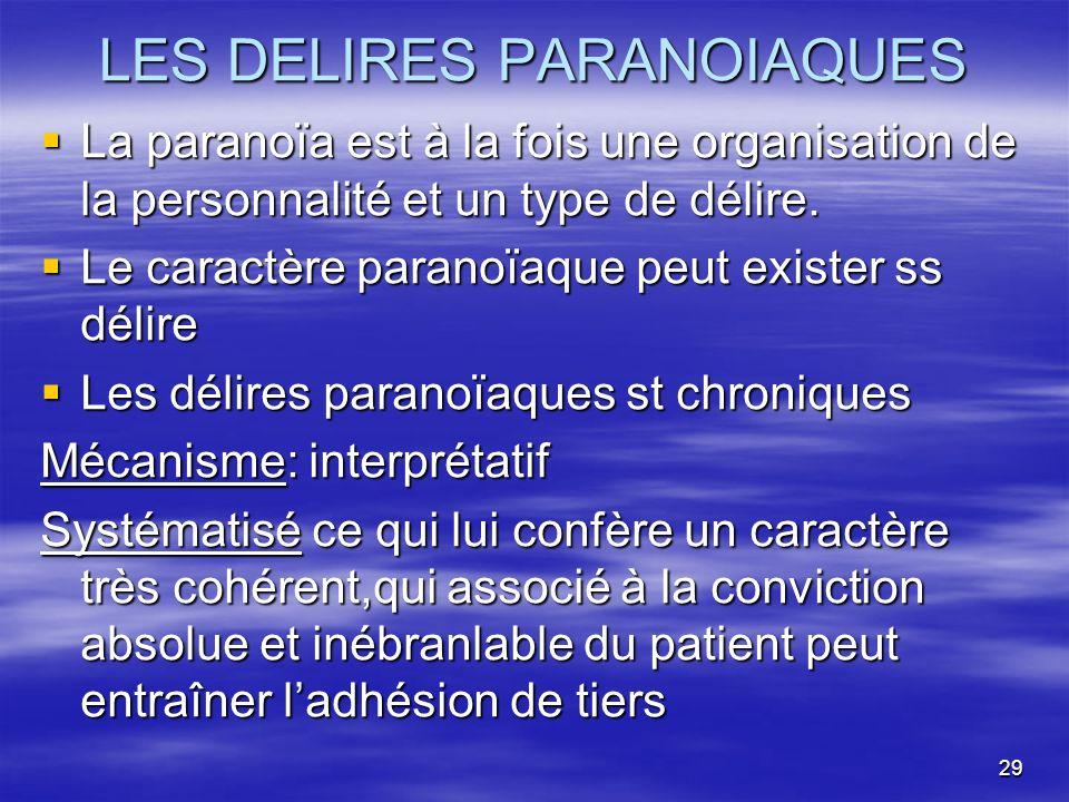 29 LES DELIRES PARANOIAQUES La paranoïa est à la fois une organisation de la personnalité et un type de délire. La paranoïa est à la fois une organisa