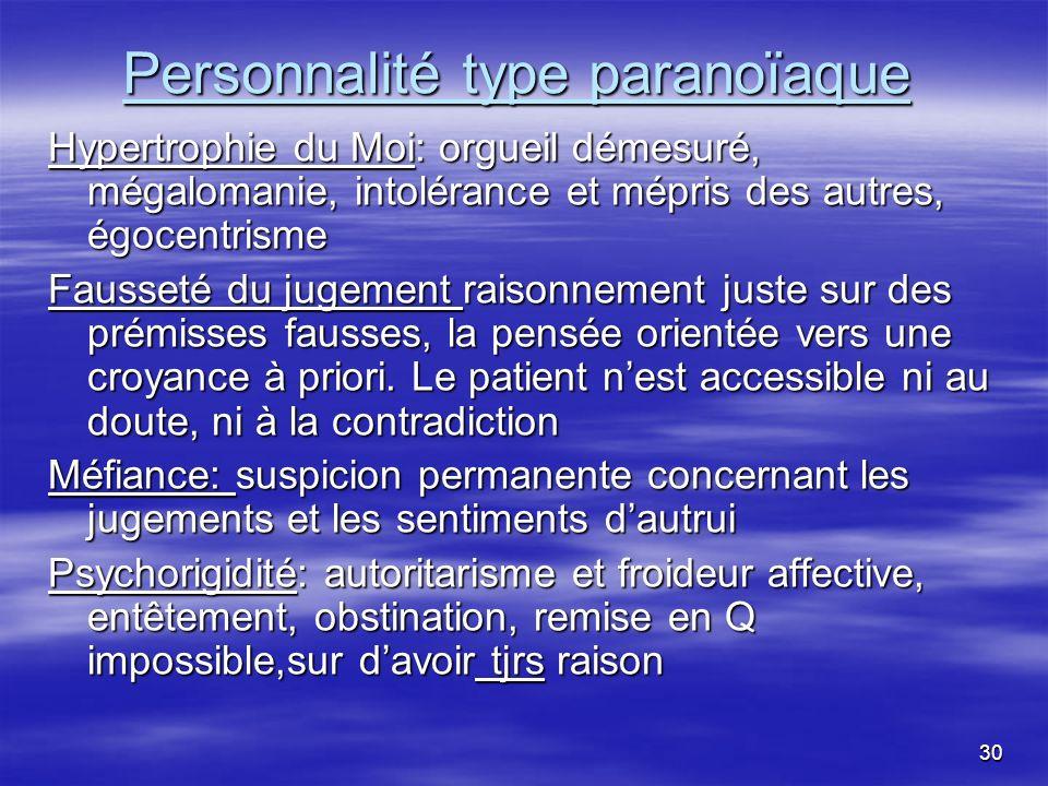 30 Personnalité type paranoïaque Hypertrophie du Moi: orgueil démesuré, mégalomanie, intolérance et mépris des autres, égocentrisme Fausseté du jugeme
