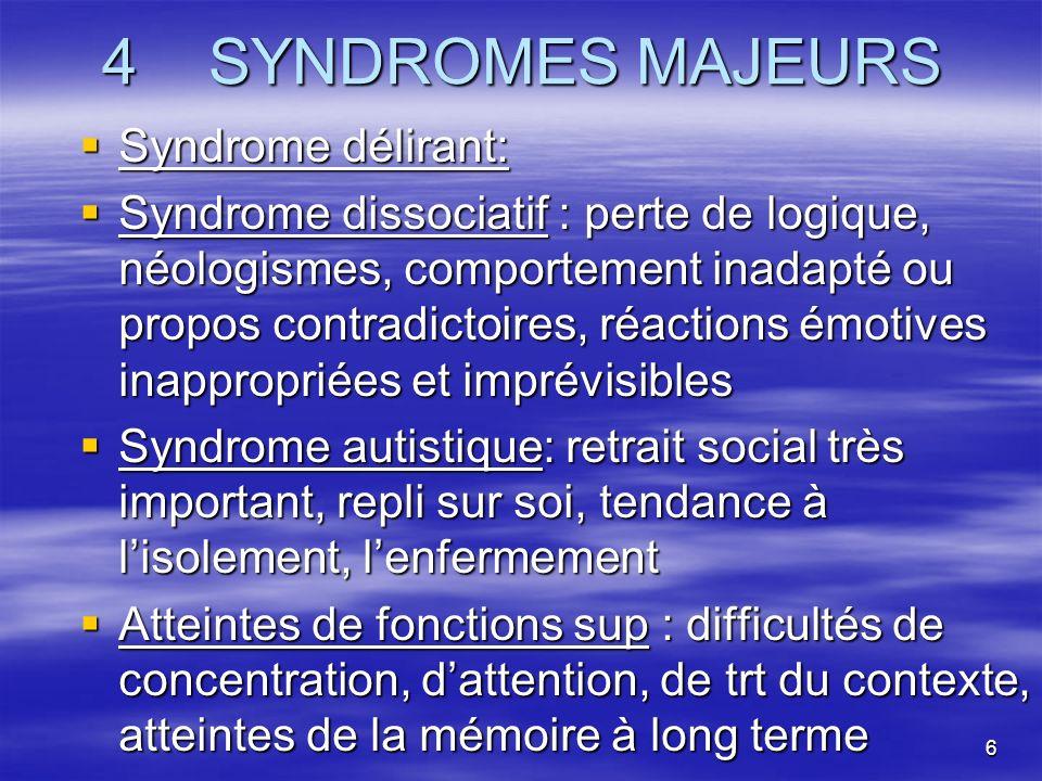6 4 SYNDROMES MAJEURS Syndrome délirant: Syndrome délirant: Syndrome dissociatif : perte de logique, néologismes, comportement inadapté ou propos cont