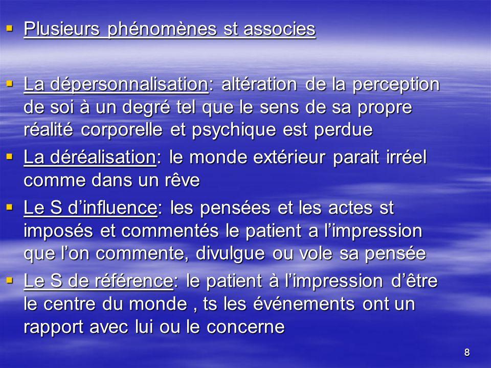 8 Plusieurs phénomènes st associes Plusieurs phénomènes st associes La dépersonnalisation: altération de la perception de soi à un degré tel que le se