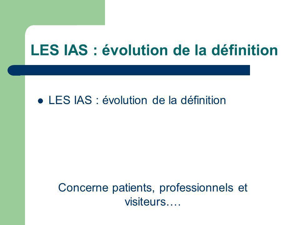 LES IAS : évolution de la définition Concerne patients, professionnels et visiteurs….