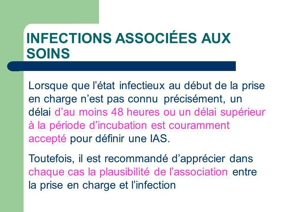 INFECTIONS ASSOCIÉES AUX SOINS Lorsque que létat infectieux au début de la prise en charge nest pas connu précisément, un délai dau moins 48 heures ou