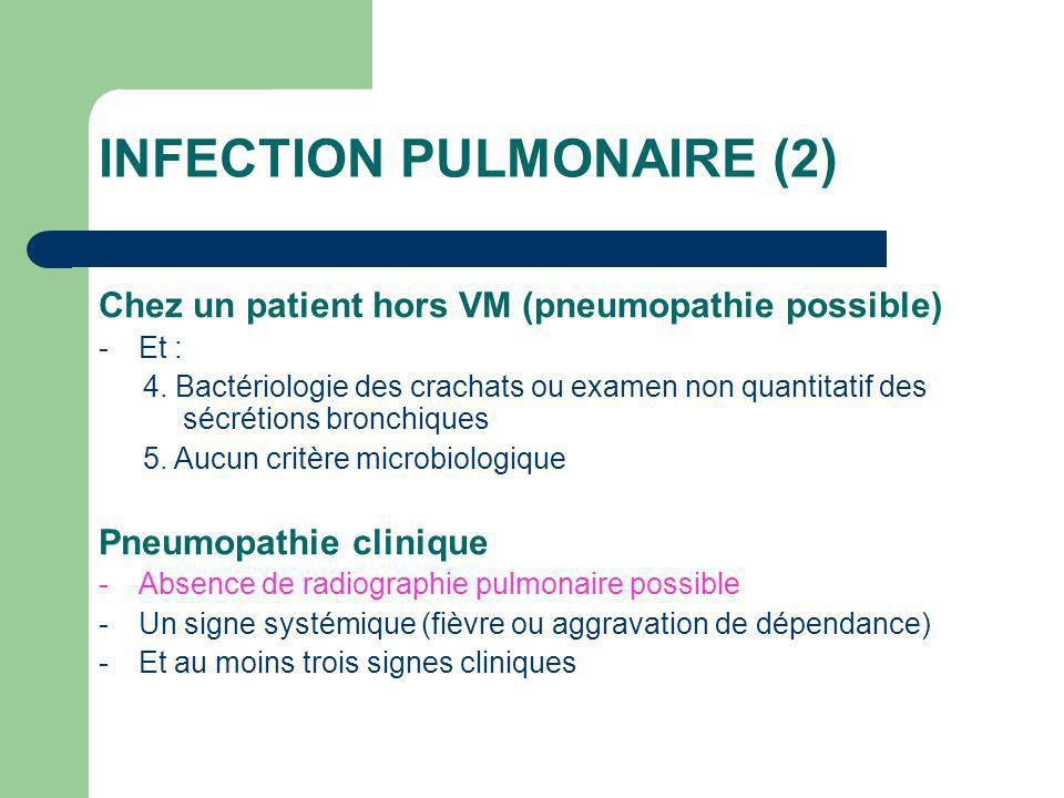 INFECTION PULMONAIRE (2) Chez un patient hors VM (pneumopathie possible) -Et : 4.