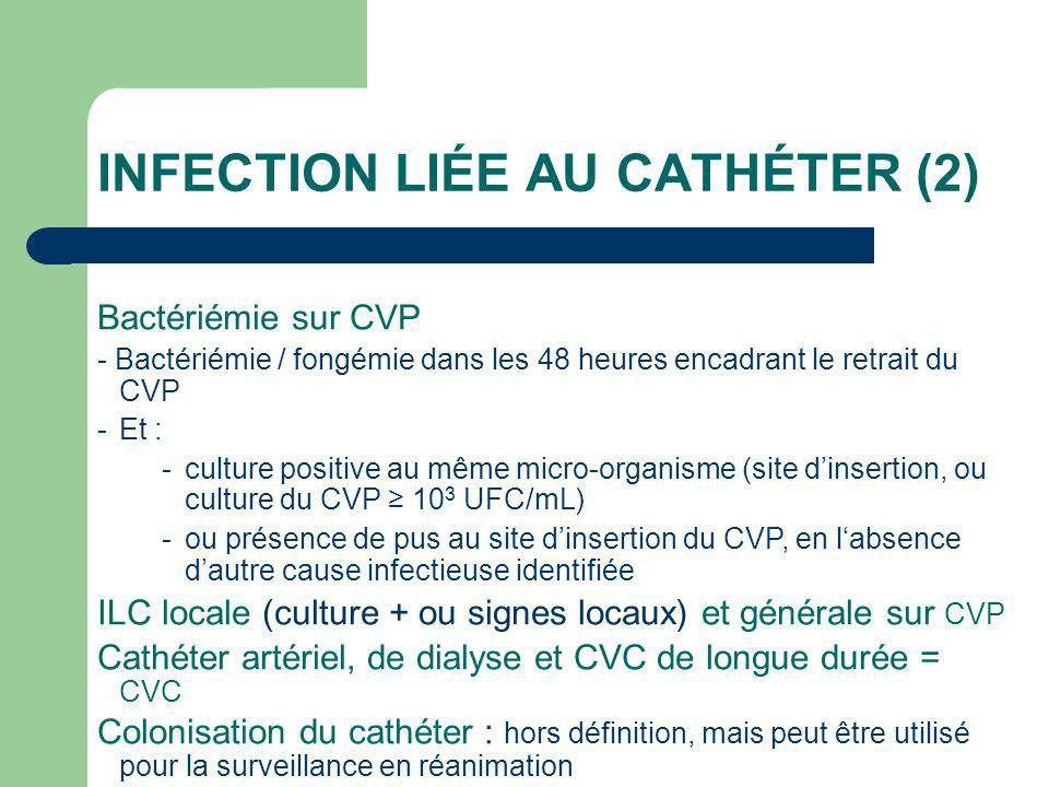 INFECTION LIÉE AU CATHÉTER (2) Bactériémie sur CVP - Bactériémie / fongémie dans les 48 heures encadrant le retrait du CVP -Et : -culture positive au même micro-organisme (site dinsertion, ou culture du CVP 10 3 UFC/mL) -ou présence de pus au site dinsertion du CVP, en labsence dautre cause infectieuse identifiée ILC locale (culture + ou signes locaux) et générale sur CVP Cathéter artériel, de dialyse et CVC de longue durée = CVC Colonisation du cathéter : hors définition, mais peut être utilisé pour la surveillance en réanimation