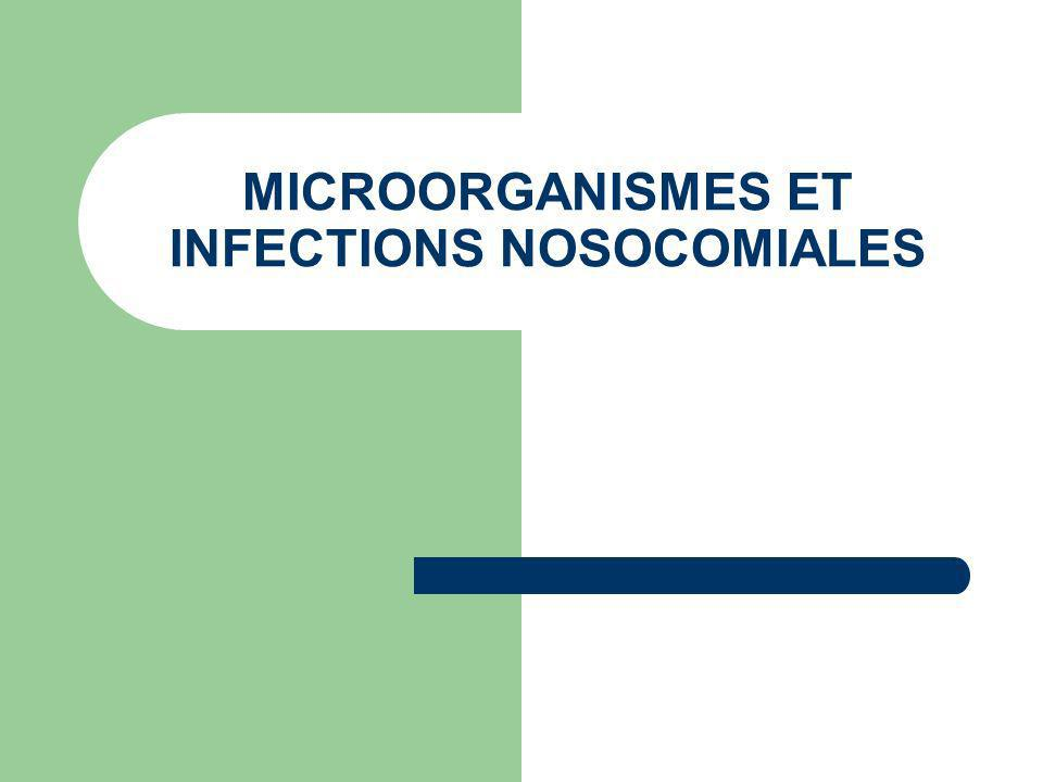 MICROORGANISMES ET INFECTIONS NOSOCOMIALES