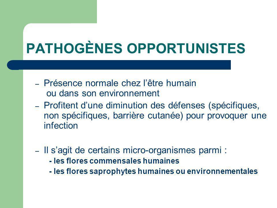 PATHOGÈNES OPPORTUNISTES – Présence normale chez lêtre humain ou dans son environnement – Profitent dune diminution des défenses (spécifiques, non spé