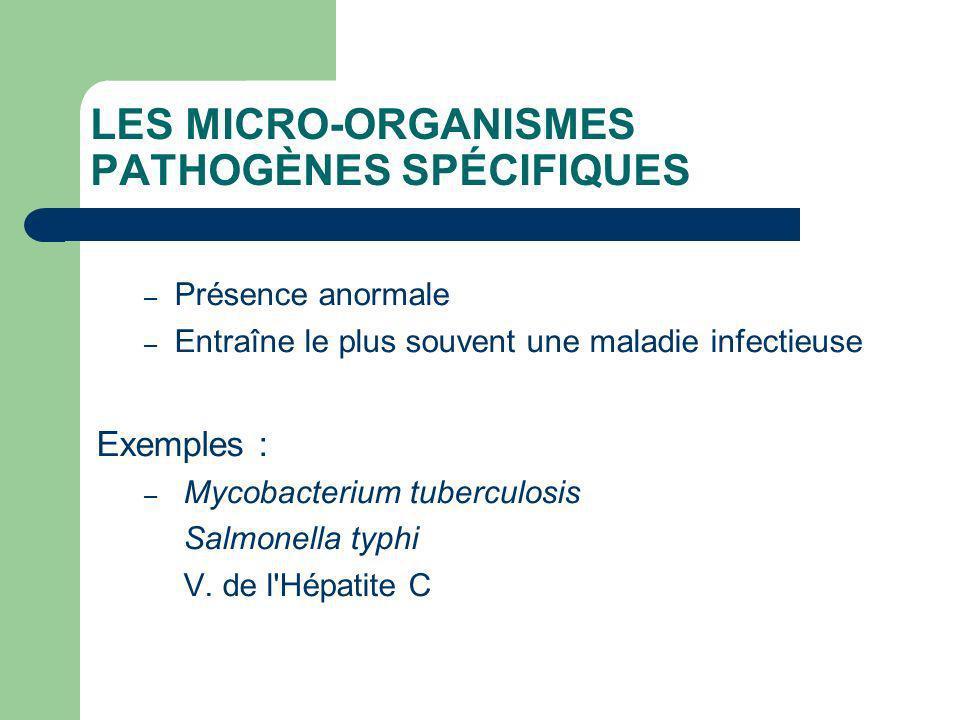 LES MICRO-ORGANISMES PATHOGÈNES SPÉCIFIQUES – Présence anormale – Entraîne le plus souvent une maladie infectieuse Exemples : – Mycobacterium tubercul