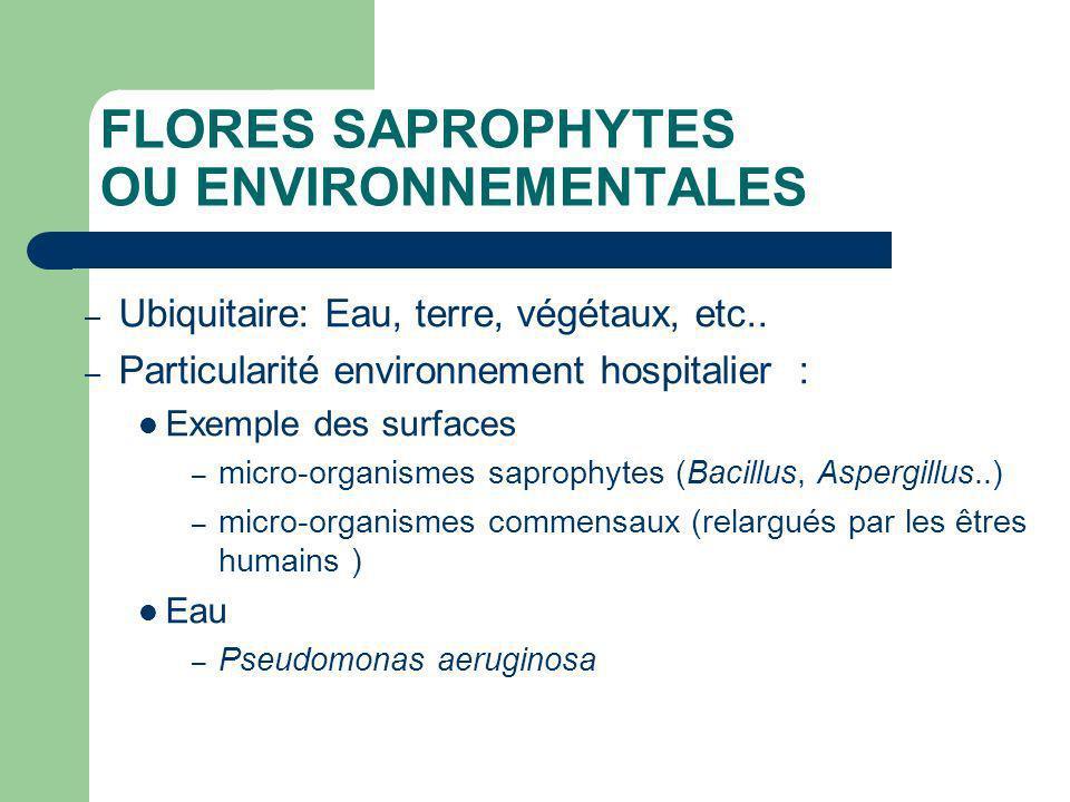 FLORES SAPROPHYTES OU ENVIRONNEMENTALES – Ubiquitaire: Eau, terre, végétaux, etc.. – Particularité environnement hospitalier : Exemple des surfaces –