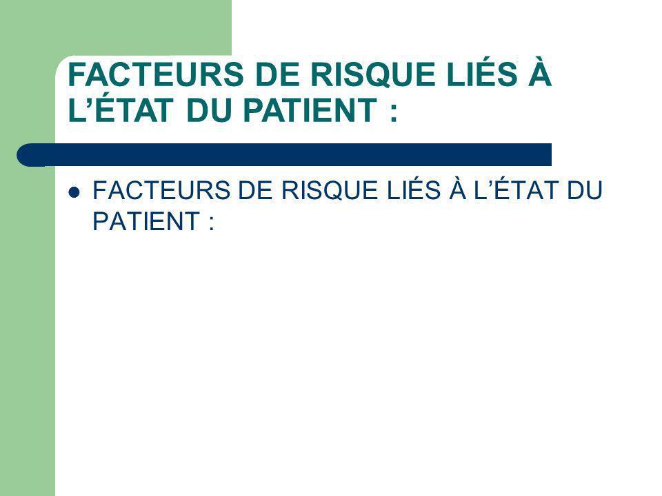 FACTEURS DE RISQUE LIÉS À LÉTAT DU PATIENT :