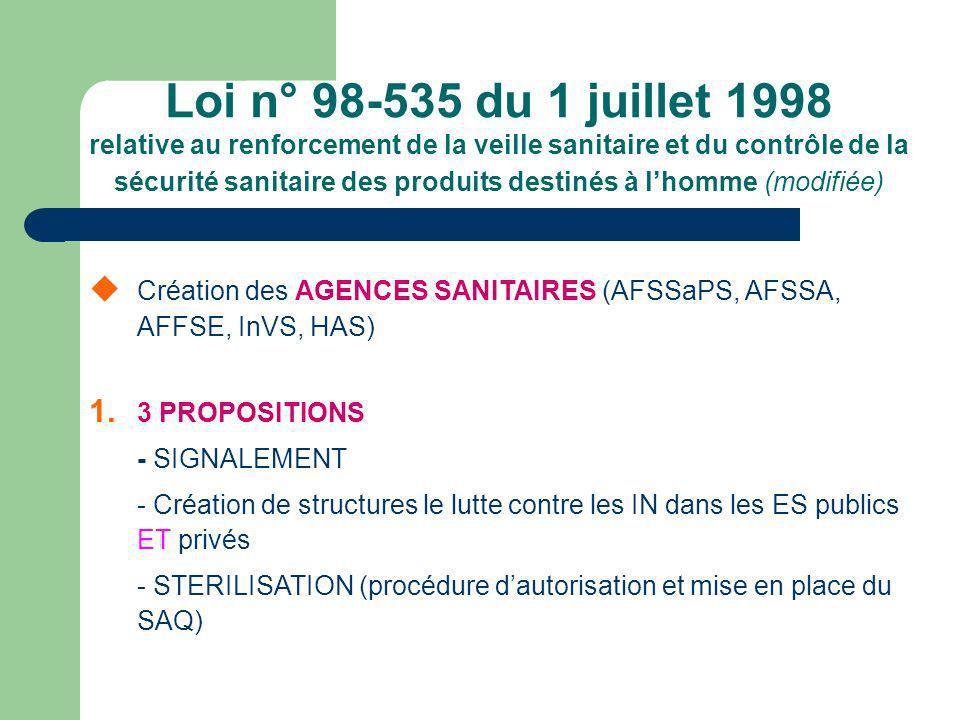 Loi n° 98-535 du 1 juillet 1998 relative au renforcement de la veille sanitaire et du contrôle de la sécurité sanitaire des produits destinés à lhomme (modifiée) Création des AGENCES SANITAIRES (AFSSaPS, AFSSA, AFFSE, InVS, HAS) 1.