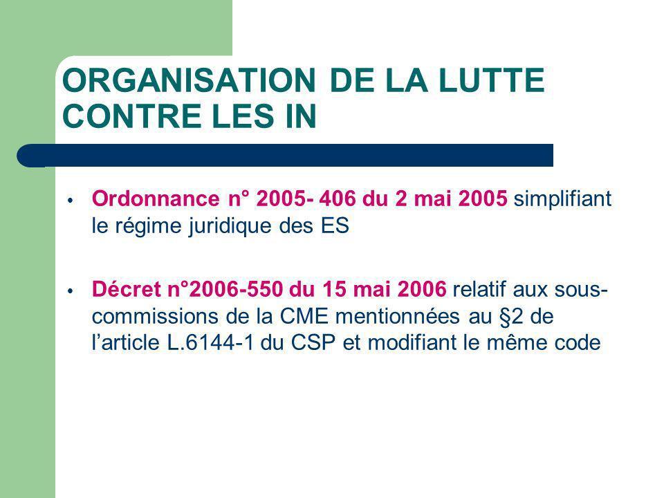 ORGANISATION DE LA LUTTE CONTRE LES IN Ordonnance n° 2005- 406 du 2 mai 2005 simplifiant le régime juridique des ES Décret n°2006-550 du 15 mai 2006 relatif aux sous- commissions de la CME mentionnées au §2 de larticle L.6144-1 du CSP et modifiant le même code