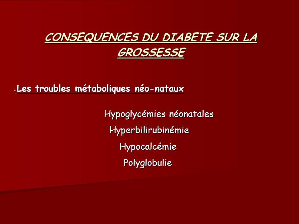 CONSEQUENCES DU DIABETE SUR LA GROSSESSE Les troubles métaboliques néo-nataux Les troubles métaboliques néo-nataux Hypoglycémies néonatales Hypoglycém