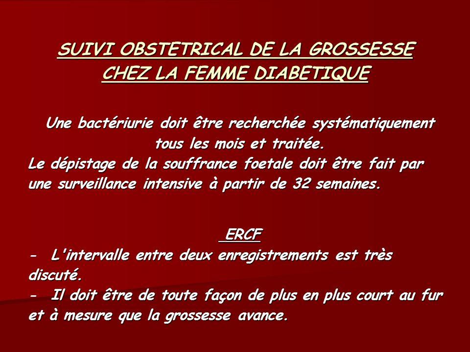 SUIVI OBSTETRICAL DE LA GROSSESSE CHEZ LA FEMME DIABETIQUE Une bactériurie doit être recherchée systématiquement tous les mois et traitée. Le dépistag