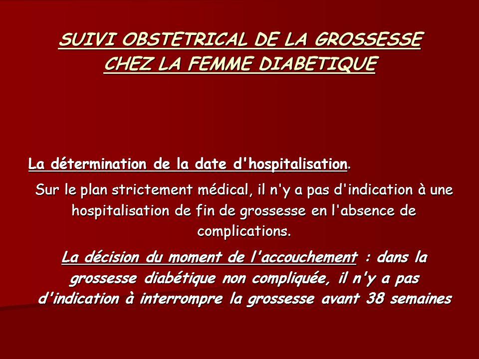 SUIVI OBSTETRICAL DE LA GROSSESSE CHEZ LA FEMME DIABETIQUE La détermination de la date d'hospitalisation. Sur le plan strictement médical, il n'y a pa