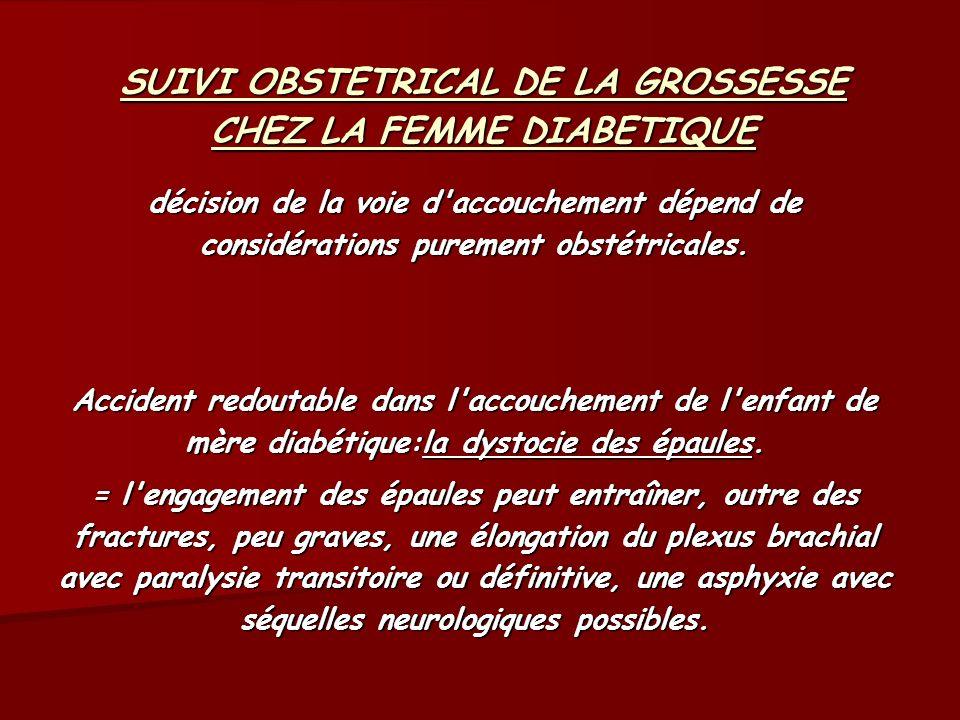 SUIVI OBSTETRICAL DE LA GROSSESSE CHEZ LA FEMME DIABETIQUE décision de la voie d'accouchement dépend de considérations purement obstétricales. Acciden
