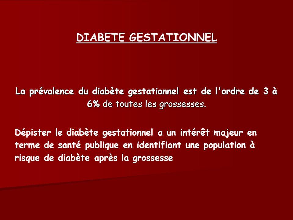 DIABETE GESTATIONNEL La prévalence du diabète gestationnel est de l'ordre de 3 à 6% de toutes les grossesses. Dépister le diabète gestationnel a un in