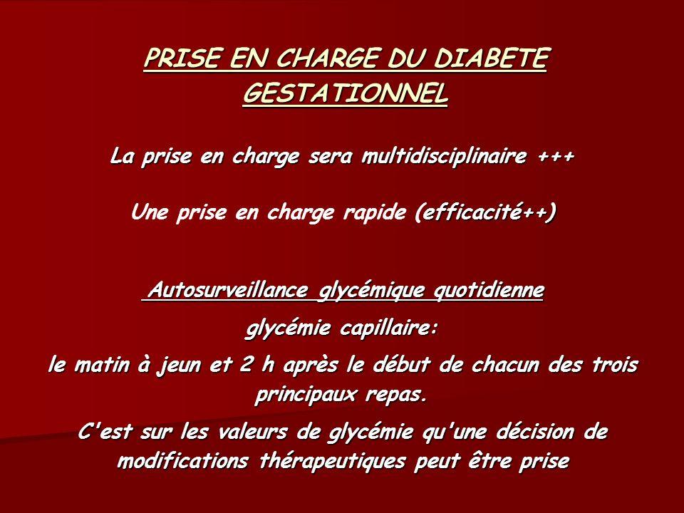 PRISE EN CHARGE DU DIABETE GESTATIONNEL La prise en charge sera multidisciplinaire +++ efficacité++) Autosurveillance glycémique quotidienne Une prise