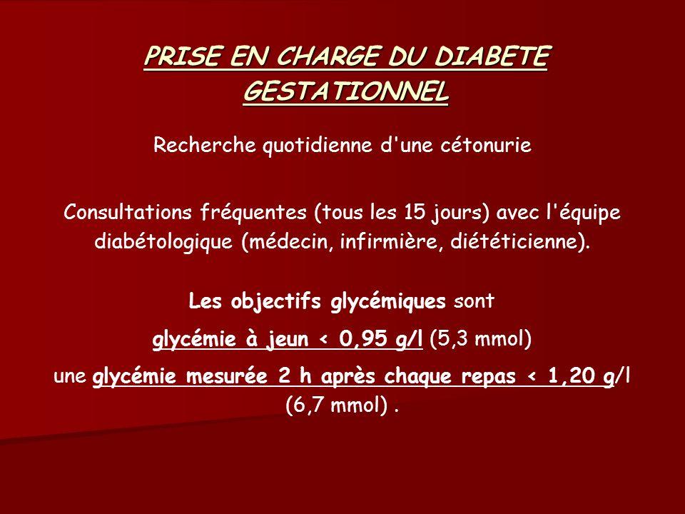 PRISE EN CHARGE DU DIABETE GESTATIONNEL Recherche quotidienne d'une cétonurie Consultations fréquentes (tous les 15 jours) avec l'équipe diabétologiqu