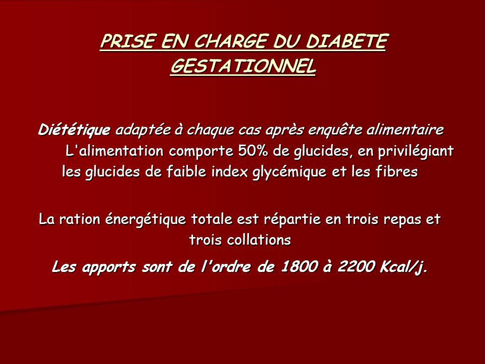 PRISE EN CHARGE DU DIABETE GESTATIONNEL Diététique adaptée à chaque cas après enquête alimentaire L'alimentation comporte 50% de glucides, en privilég