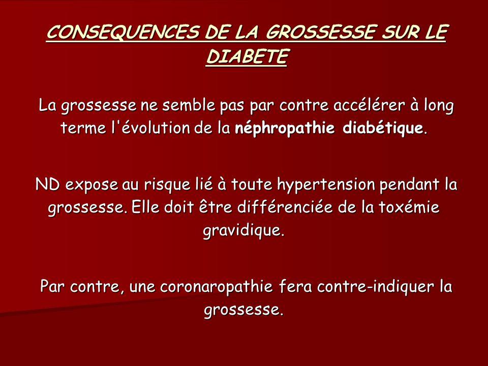 CONSEQUENCES DU DIABETE SUR LA GROSSESSE Au total, en dehors de complications dégénératives très sévères (rétinopathie floride, néphropathie avancée avec insuffisance rénale et HTA sévère, coronaropathie ) la grossesse n est pas contre-indiquée chez la femme diabétique.