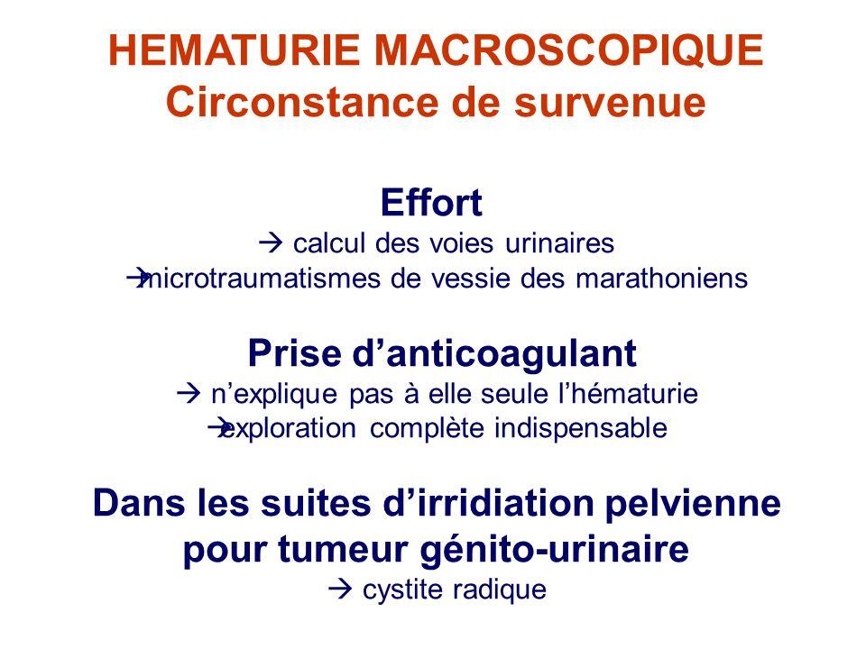 HEMATURIE MACROSCOPIQUE Circonstance de survenue Effort calcul des voies urinaires microtraumatismes de vessie des marathoniens Prise danticoagulant n