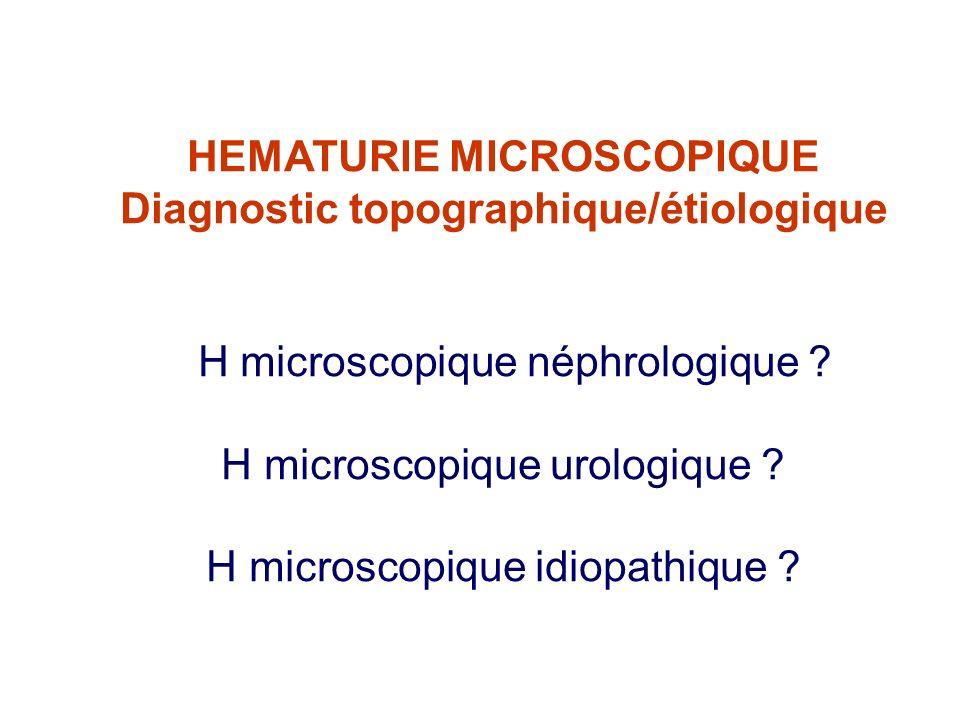 HEMATURIE MICROSCOPIQUE Diagnostic topographique/étiologique H microscopique néphrologique ? H microscopique urologique ? H microscopique idiopathique