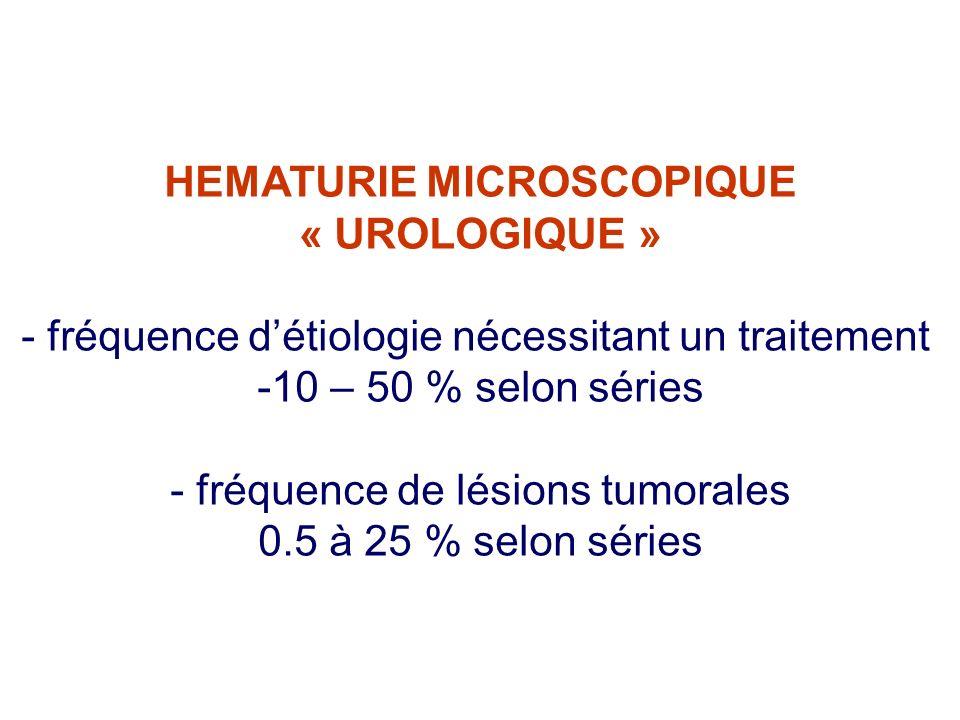 HEMATURIE MICROSCOPIQUE « UROLOGIQUE » - fréquence détiologie nécessitant un traitement -10 – 50 % selon séries - fréquence de lésions tumorales 0.5 à 25 % selon séries