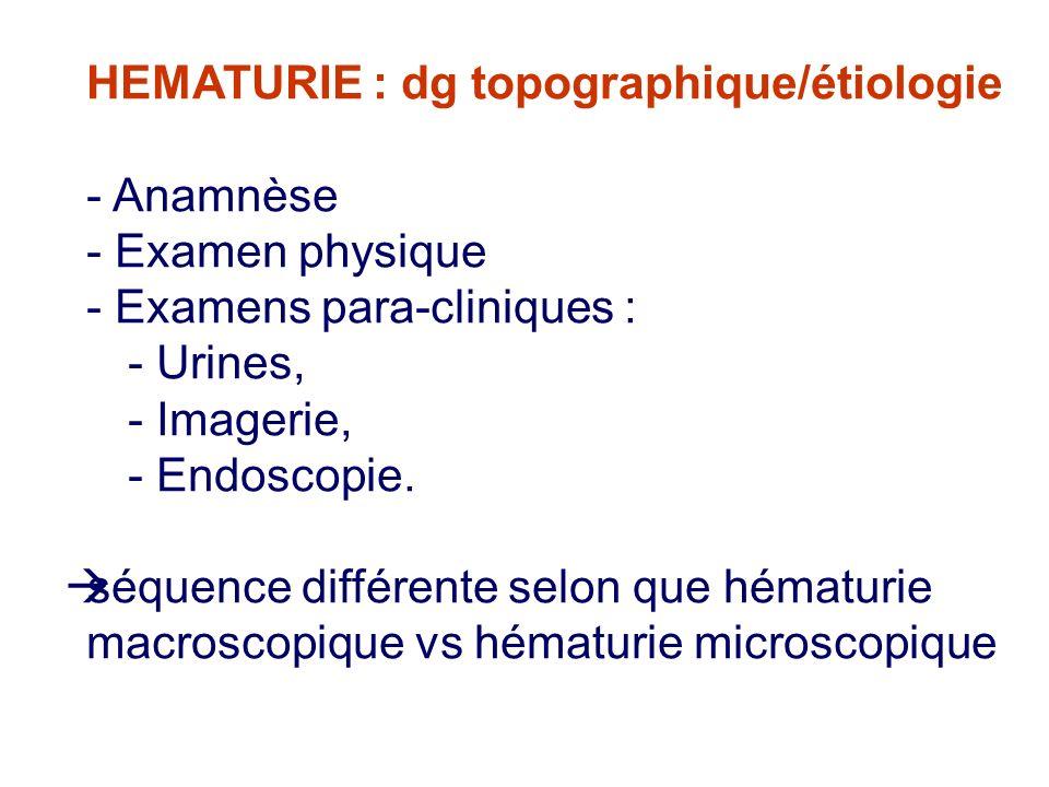HEMATURIE : dg topographique/étiologie - Anamnèse - Examen physique - Examens para-cliniques : - Urines, - Imagerie, - Endoscopie.