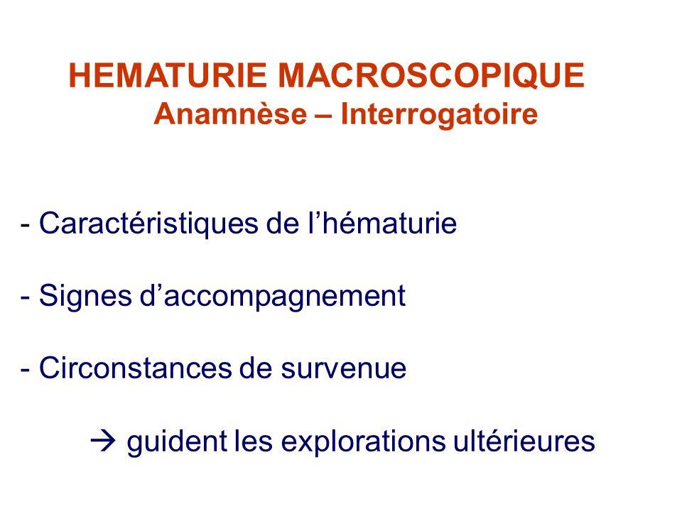 HEMATURIE MACROSCOPIQUE Anamnèse – Interrogatoire - Caractéristiques de lhématurie - Signes daccompagnement - Circonstances de survenue guident les explorations ultérieures