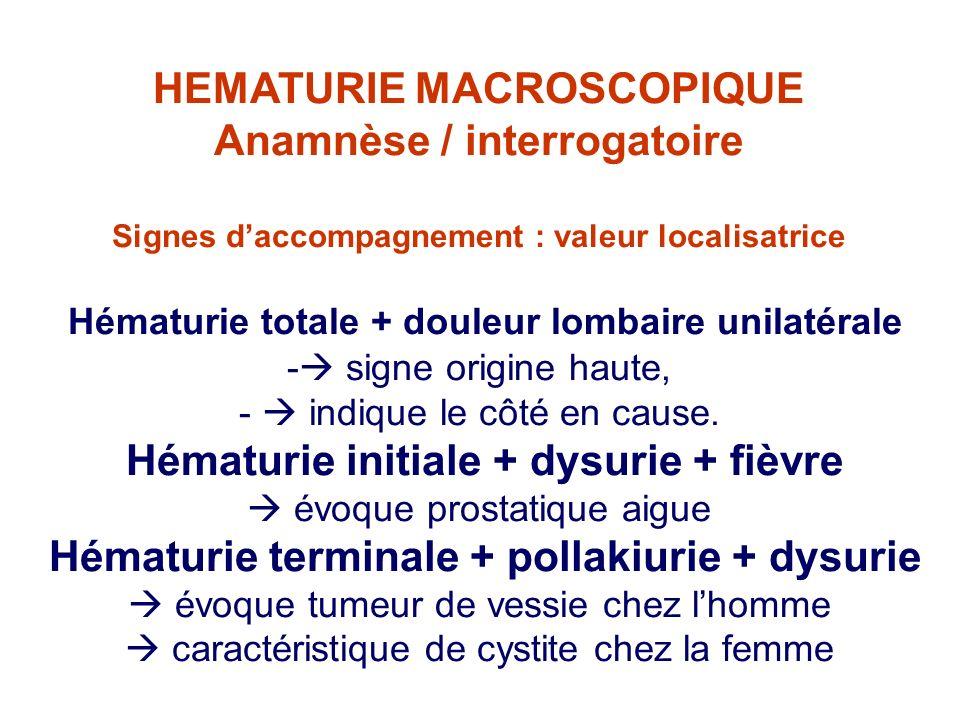 HEMATURIE MACROSCOPIQUE Anamnèse / interrogatoire Signes daccompagnement : valeur localisatrice Hématurie totale + douleur lombaire unilatérale - sign