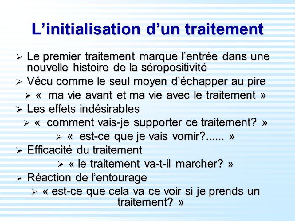 Linitialisation dun traitement Le premier traitement marque lentrée dans une nouvelle histoire de la séropositivité Le premier traitement marque lentr