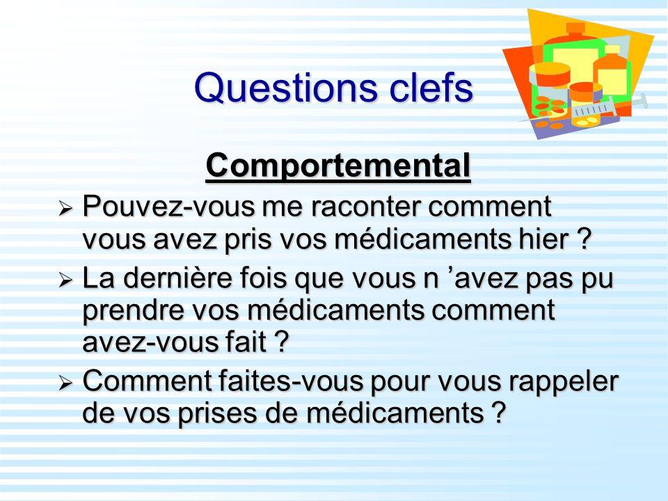 Questions clefs Comportemental Pouvez-vous me raconter comment vous avez pris vos médicaments hier ? Pouvez-vous me raconter comment vous avez pris vo