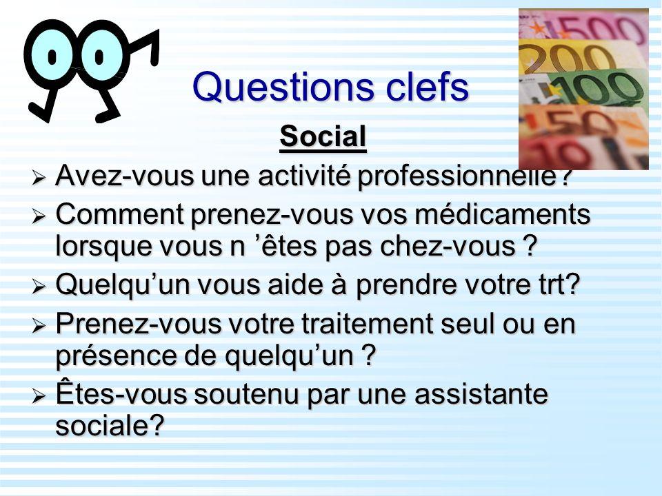 Questions clefs Social Avez-vous une activité professionnelle? Avez-vous une activité professionnelle? Comment prenez-vous vos médicaments lorsque vou