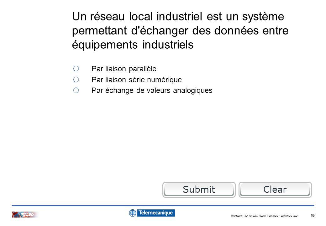 Introduction aux réseaux locaux industriels - Septembre 2004 TOLED 65 Un réseau local industriel est un système permettant d'échanger des données entr