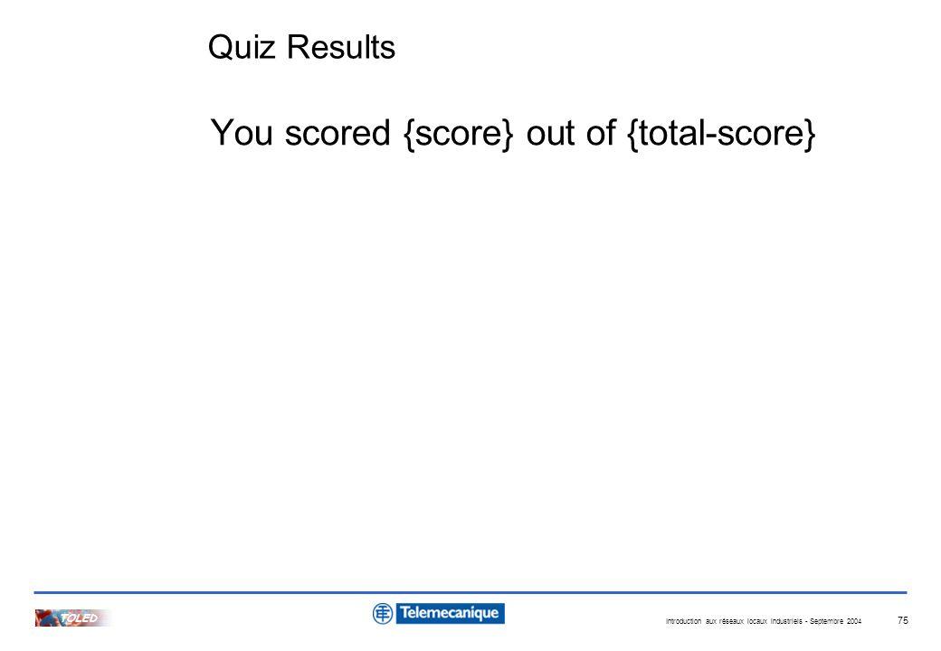 Introduction aux réseaux locaux industriels - Septembre 2004 TOLED 75 Quiz Results You scored {score} out of {total-score}