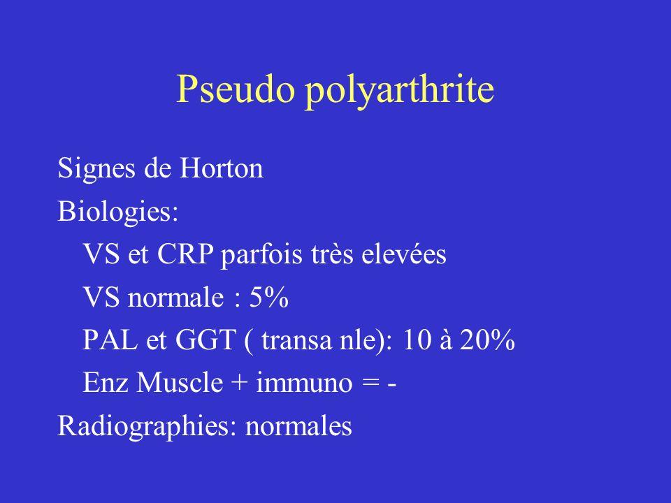 Pseudo polyarthrite Diagnostic différentiel: Polyarthrite Rhumatoïde: début 25% par dl ceintures Polymyosite Cancer, Lymphome Rhumatisme microcristallin Myagies d hypothyroidie ou medicamenteuse Evolution régression spectaculaire sous cortisone rares rechutes