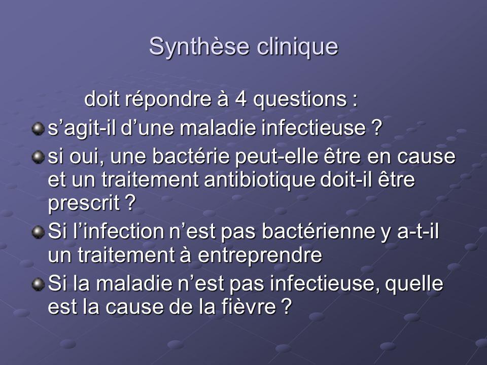 Synthèse clinique doit répondre à 4 questions : doit répondre à 4 questions : sagit-il dune maladie infectieuse ? si oui, une bactérie peut-elle être