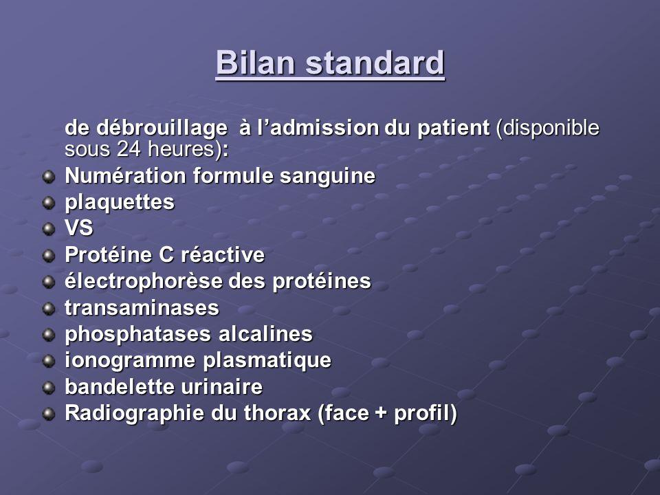 Bilan standard de débrouillage à ladmission du patient (disponible sous 24 heures): Numération formule sanguine plaquettesVS Protéine C réactive élect