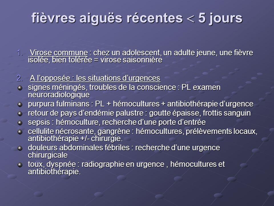 fièvres aiguës récentes 5 jours 1. Virose commune : chez un adolescent, un adulte jeune, une fièvre isolée, bien tolérée = virose saisonnière 2. A lop