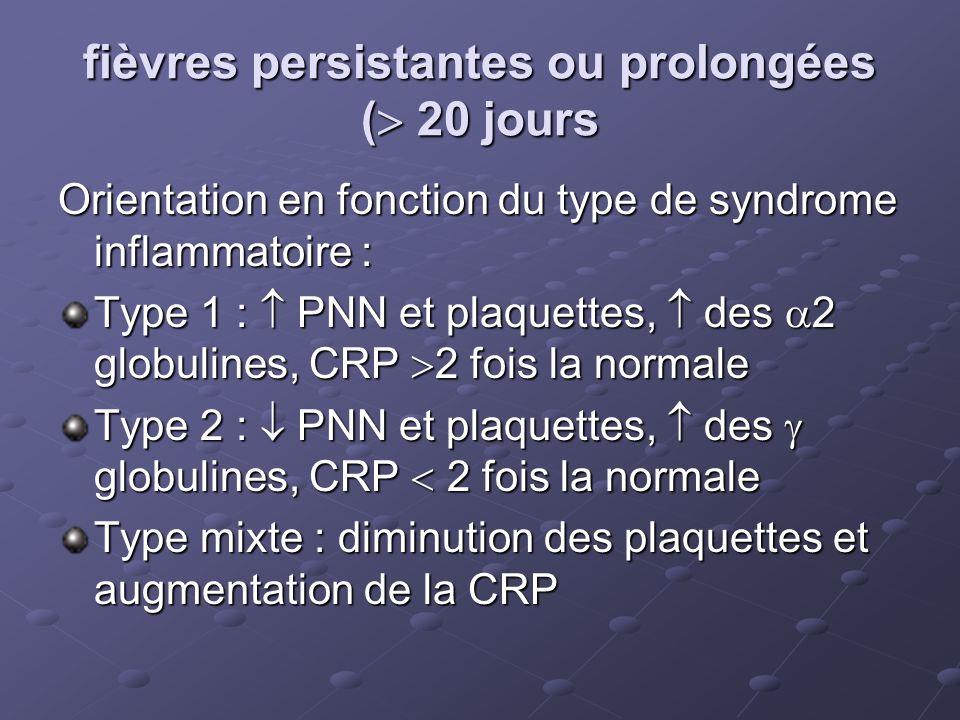 fièvres persistantes ou prolongées ( 20 jours Orientation en fonction du type de syndrome inflammatoire : Type 1 : PNN et plaquettes, des 2 globulines