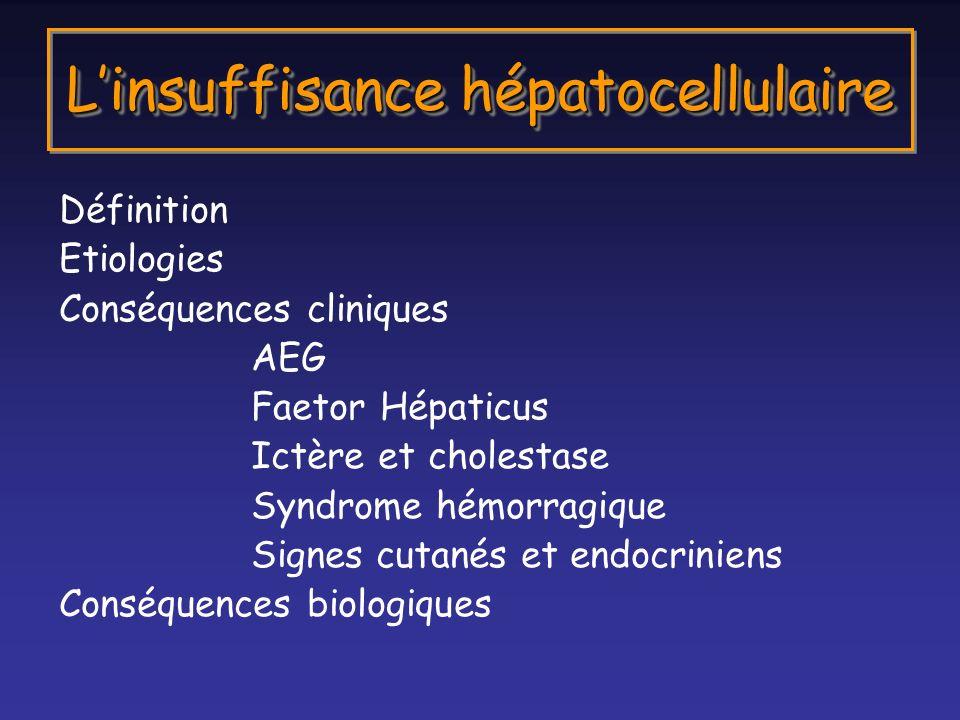 Définition Etiologies Conséquences cliniques AEG Faetor Hépaticus Ictère et cholestase Syndrome hémorragique Signes cutanés et endocriniens Conséquenc
