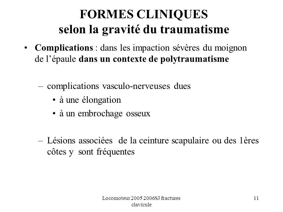 Locomoteur 2005 2006SJ fractures clavicule 11 FORMES CLINIQUES selon la gravité du traumatisme Complications : dans les impaction sévères du moignon d