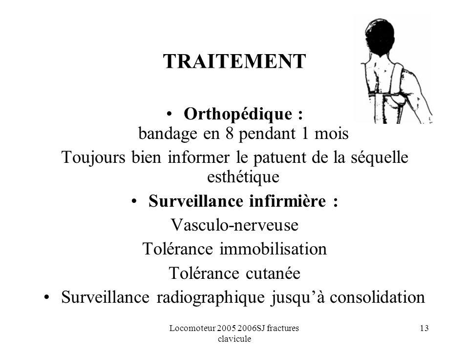 Locomoteur 2005 2006SJ fractures clavicule 13 TRAITEMENT Orthopédique : bandage en 8 pendant 1 mois Toujours bien informer le patuent de la séquelle e