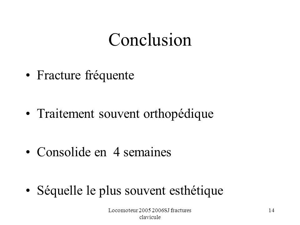 Locomoteur 2005 2006SJ fractures clavicule 14 Conclusion Fracture fréquente Traitement souvent orthopédique Consolide en 4 semaines Séquelle le plus s